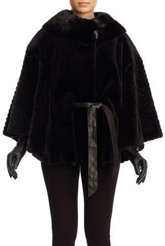 Gorski Belted Sheared Mink Poncho with Chevron Accents