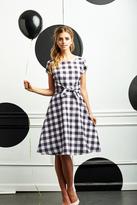Shabby Apple Pretty in Plaid Dress B&W