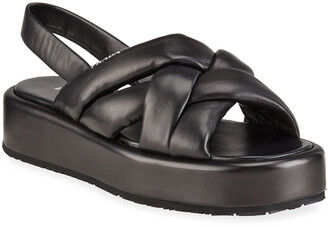 Prada Woven Leather Slingback Flatform Sandals