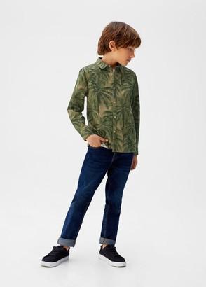 MANGO Hawaiian print cotton shirt khaki - 5 - Kids
