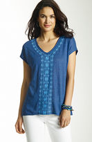 J. Jill Embroidered linen tee