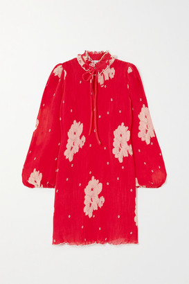 Ganni Ruffled Floral-print Plisse-georgette Mini Dress - Red