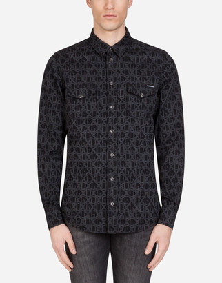 Dolce & Gabbana Stretch Denim Shirt With Print