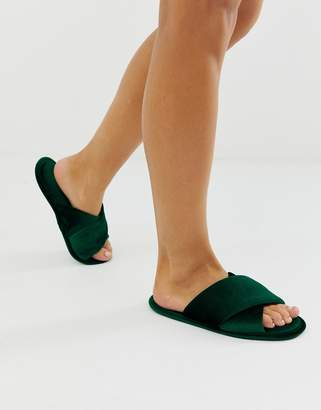 Asos Design DESIGN Zest cross strap slippers in forest green velvet
