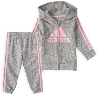 adidas Baby Girl's 2-Piece Tricot Stripes Fleece Track Set