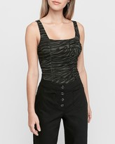 Express Zebra Print Ruched Front Tank