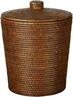OKA Lined Rattan Basket With Lid - Brown
