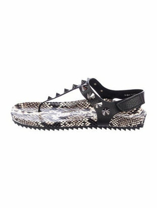Pedro Garcia Snakeskin Studded Accents Slingback Sandals w/ Tags Black