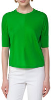 Akris Punto Knit Half-Sleeve Pullover Sweater, Lime