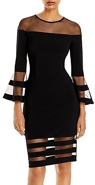 Aqua Bell-Sleeve Illusion Dress - 100% Exclusive