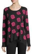 Joan Vass Falling Rose Intarsia Cotton Sweater, Plus Size