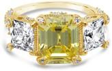 Judith Ripka 14K Gold Clad Diamonique 3 Stone Ring