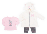Little Lass Ivory & Pink Bear Hooded Jacket Set - Infant