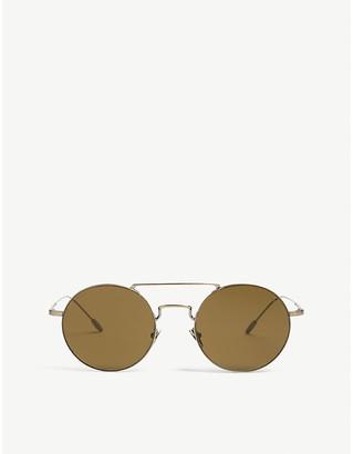 Giorgio Armani Ladies Gold Retro Ar6072 Round-Frame Sunglasses