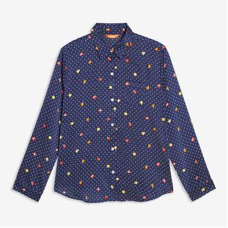 Joe Fresh Women's Print Satin Sleep Shirt, Navy (Size L)