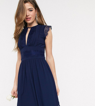 TFNC Tall bridesmaid lace detail mini dress in navy