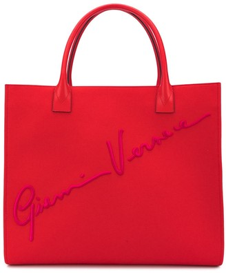 Versace Embroidered-Logo Tote Bag