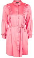 Topshop Satin ruffle shirt dress
