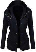 makeitmint Women's Zip Up Military Anorak Jacket w/ Hood [S-3XL] 3XL YJH0018_Navy