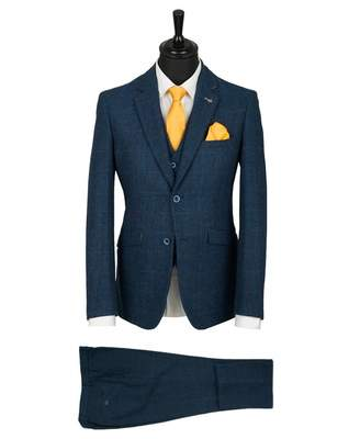 House Of Cavani Three Piece Tweed Check Suit Colour: NAVY, Size: 42R