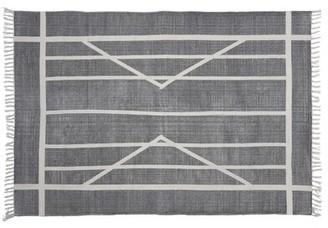 Union Rustic Harvill Block Print Handmade Kilim Cotton Gray Area Rug