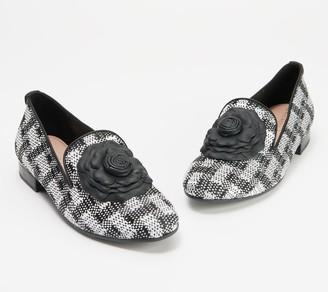Taryn Rose Woven Floral Heeled Loafers - Brigitta