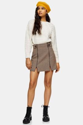 Topshop Cream and Tan Check Split Mini Skirt