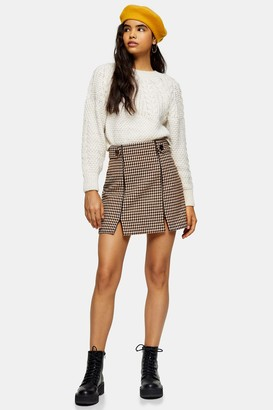 Topshop Womens Cream And Tan Check Split Mini Skirt - Cream