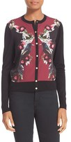Ted Baker 'Bejewelled Shadows' Print Woven Front Cardigan
