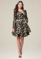 Bebe Gold Leopard Trench Coat