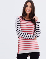 Oasis Double Stripe Button Knit