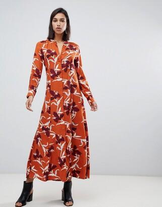 Y.A.S bold floral shirt maxi dress