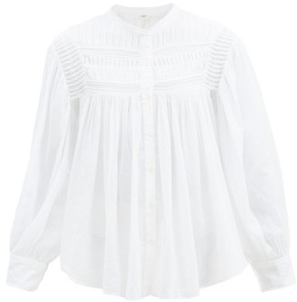 Etoile Isabel Marant Plalia Pintucked Cotton-voile Blouse - White