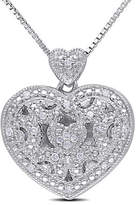 Concerto .08 CT Diamond and Sterling Silver Locket Heart Necklace