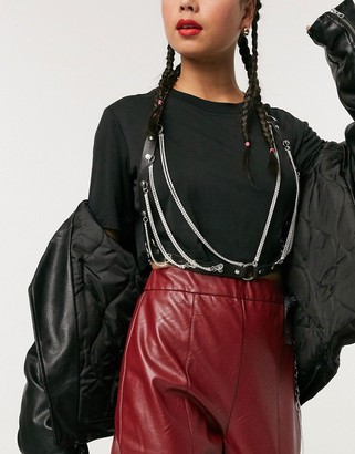 ASOS DESIGN rhinestone bralette harness