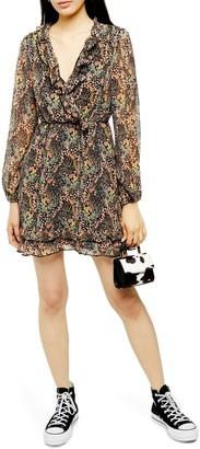 Topshop Ruffle Forest Mini Dress