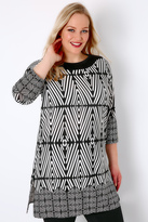Yours Clothing Black & White Geo Print Longline Top With 3/4 Length Sleeves
