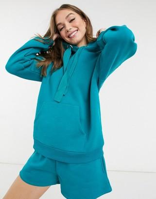Chelsea Peers organic cotton heavy weight oversized lounge hoodie in teal