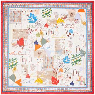 Tory Burch EMBELLISHED ART STUDIO SILK SQUARE SCARF