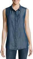 Liz Claiborne Sleeveless Chambray Cotton Shirt