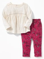 Old Navy Slub-Knit Top and Floral Pants Set for Baby