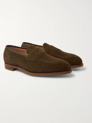 Edward Green Piccadilly Leather-Trimmed Suede Penny Loafers - Men - Green