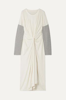 MM6 MAISON MARGIELA Oversized Twist-front Jersey-trimmed Stretch-knit Maxi Dress - White