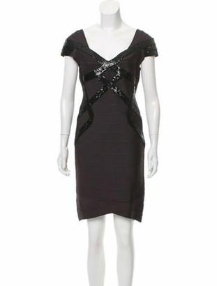 Herve Leger Sequin Bandage Dress grey