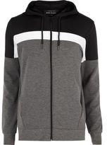 River Island MensBlack color block zip up hoodie
