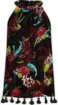 River Island Womens Black tropical tassel hem sleeveless top