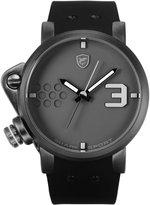 Shark Men's Sport Oversize Dial Crown Black Silicone Band Analog Quartz Wrist Watch Salmon SH518