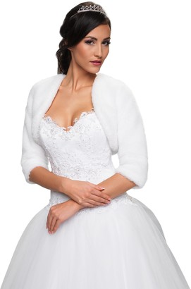 Ossa Wedding Lightweight Soft Faux Fur Bridal Jacket Shrug with Three Quarter Length Sleeves Bolero Full Lined (XS