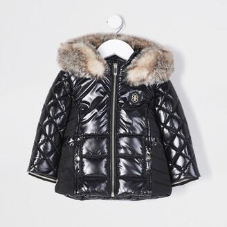 River Island Mini Girls Black high shine padded jacket