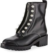 3.1 Phillip Lim Leather Lug-Sole Zip-Front Boot, Black